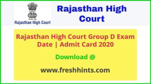 Raj High Court Group D Admit Card 2020