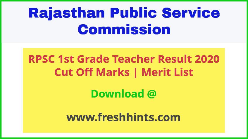 Rajasthan 1st Grade Teacher Result 2020