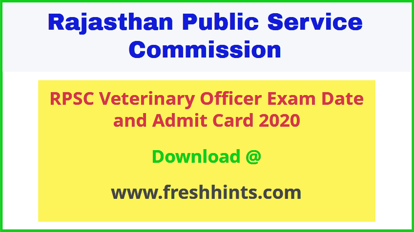 Rajasthan Veterinary Officer Admit Card 2020