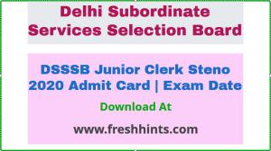 DSSSB Junior Clerk AE Steno Hall Ticket 2021
