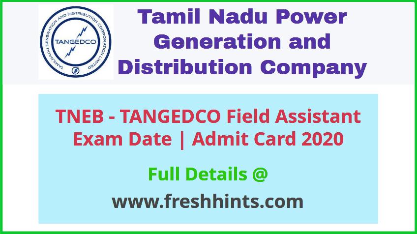 TNEB Field Assistant Hall Ticket 2020