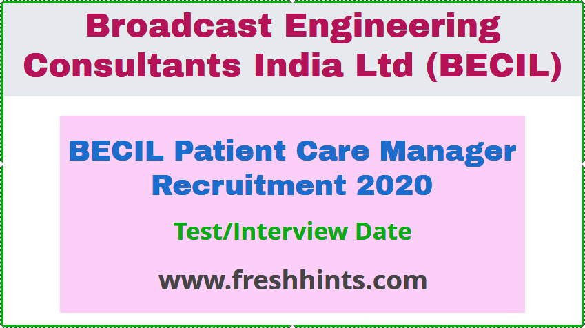 BECIL Patient Care Manager Recruitment 2020