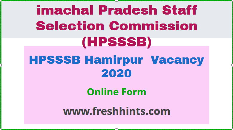 HPSSSB Hamirpur Vacancy 2020
