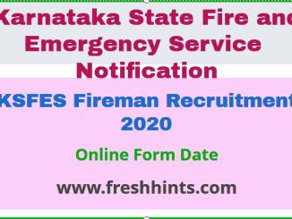 KSFES Fireman Recruitment 2020