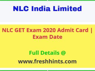 NLC Graduate Executive Trainee Admit Card 2020