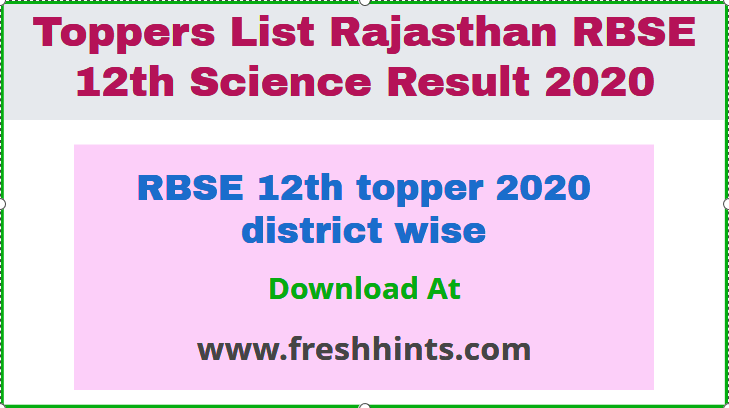 RBSE 12th topper 2020 district wise