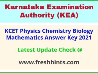 KCET Physics Chemistry Biology Mathematics Key Answer 2021