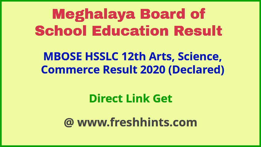 Meghalaya Board Shillong HSSLC Results 2020