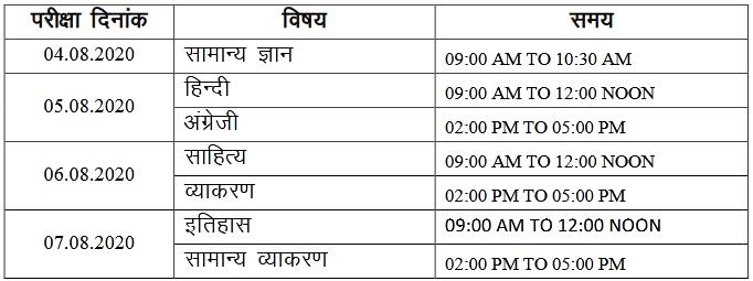Rajasthan Sanskrit Education 1st Grade Exam Time Table 2020