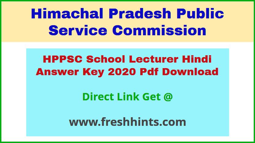 HP School Lecturer Hindi Answer Sheet 2020