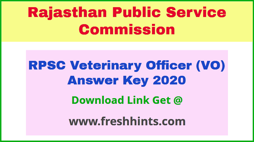 Rajasthan Veterinary Officer Answer Sheet Pdf 2020 Download