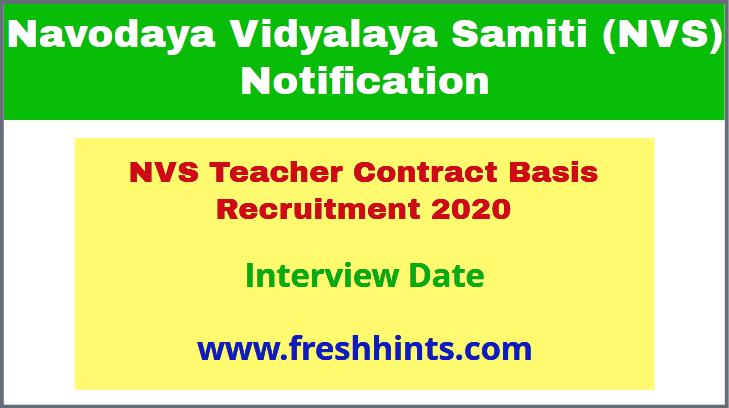 NVS Teacher Contract Basis Recruitment 2020