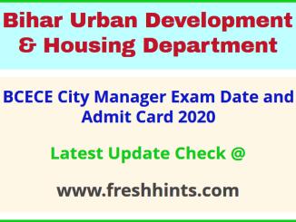 Bihar Urban Development and Housing Department CM Admit Card 2020