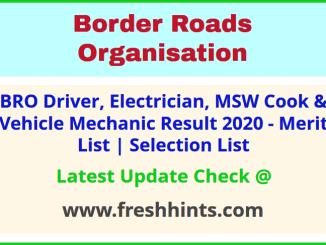 BRO Driver MSW Cook Vehicle Mechanic Selection List 2020