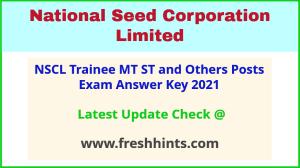 NSC Management Trainee Answer Sheet 2021