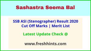 Sashastra Seema Bal ASI Stenographer Selection List 2021
