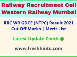 Western Railway GDCE Selection List 2021