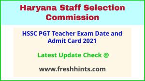 Haryana PGT Teacher Exam Hall Ticket 2021