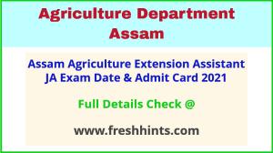 Assam Agriculture Department Recruitment Admit Card 2021