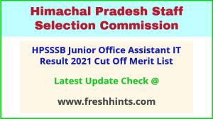 HPSSC Junior Office Assistant IT Selection List 2021