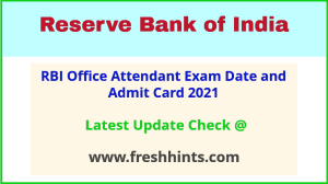 Reserve Bank of India OA Call Letter 2021