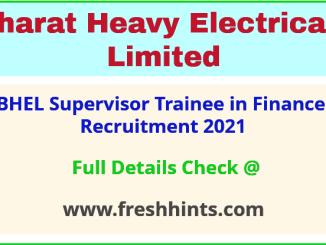 BHEL Supervisor Trainee in Finance Recruitment 2021