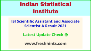 Indian Statistical Institute SA-A and AS-A Selection List 2021