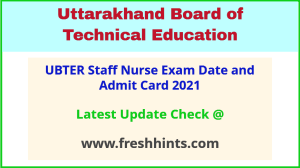 UBTER Staff Nurse Hall Ticket 2021