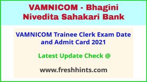 Bhagini Nivedita Sahakari Bank Exam Hall Ticket 2021