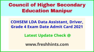 Council of Higher Secondary Education Manipur Exam Hall Ticket 2021