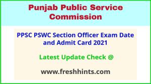 PSWC Punjab SO Exam Hall Ticket 2021
