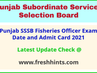 SSSB Punjab Fishery Officer Exam Hall Ticket 2021