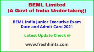 BEML JE Exam Hall Ticket 2021