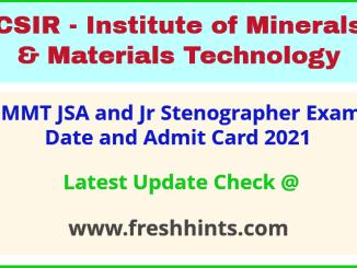IMMT Junior Secretariat Assistant Exam Hall Ticket 2021