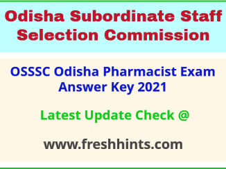 Odisha Pharmacist Exam Answer Sheet 2021