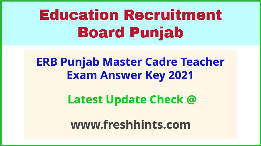 SSA Punjab Master Cadre Teacher Exam Answer Sheet 2021