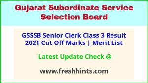 GSSSB Senior Clerk Class 3 Selection List 2021
