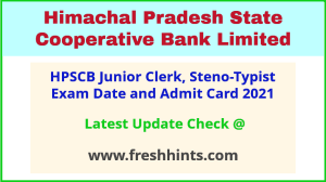 HP State Cooperative Bank Junior Clerk Call Letter 2021