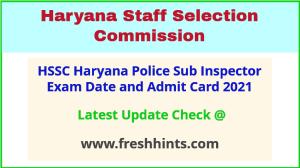 HSSC Sub Inspector Exam Hall Ticket 2021