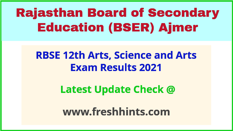 Rajasthan Board Class 12 Exam Results 2021