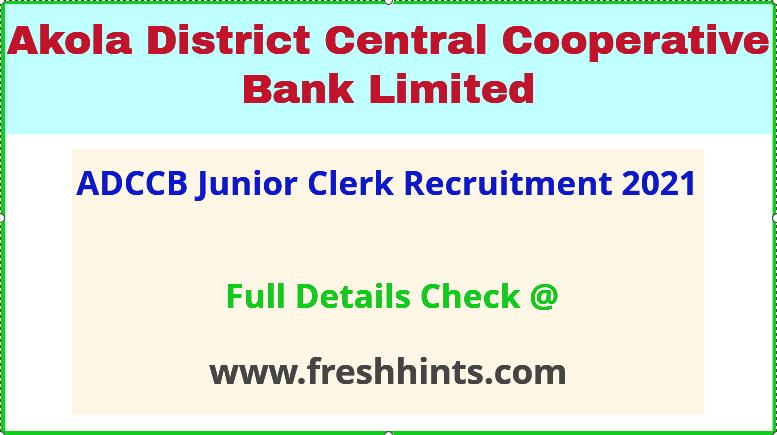 ADCCB junior clerk recruitment 2021