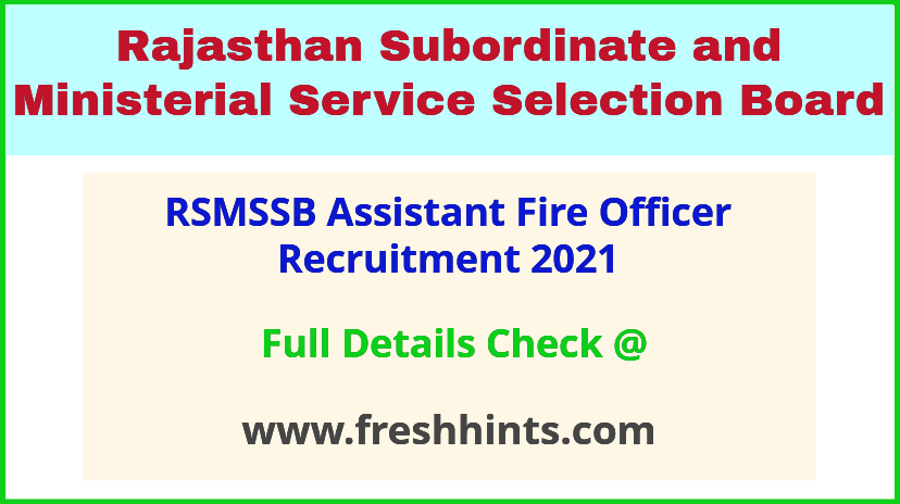 RSMSSB assistant fire officer AFO recruitment 2021