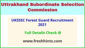 UKSSSC van vibhag forest guard recruitment 2021