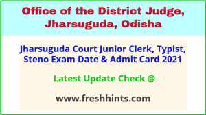 Jharsuguda District Court Group C Exam Hall Ticket 2021