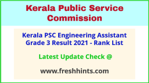 KPSC Engineering Assistant Grade 3 Selection List 2021