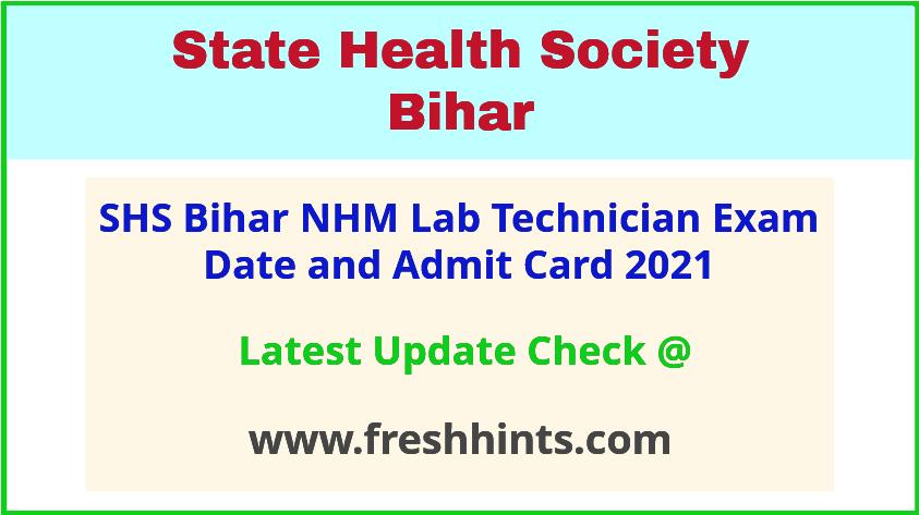 NHM Bihar Lab Technician Exam Hall Ticket 2021