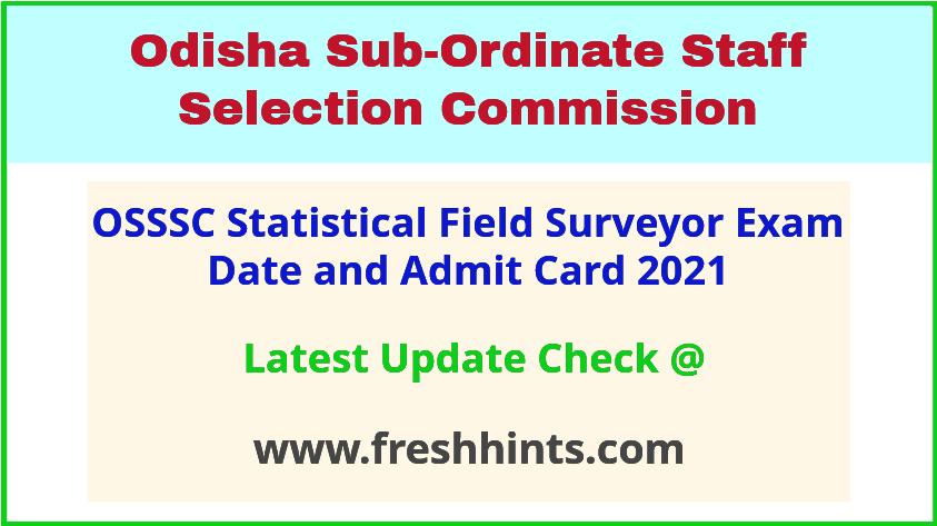 Odisha Statistical Field Surveyor Exam Hall Ticket 2021