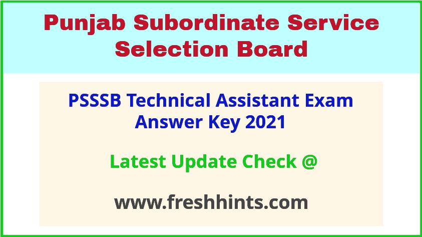 SSSB Punjab TA Exam Answer Sheet 2021