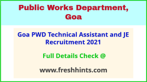 Goa PWD technical assistant and JE recruitment 2021