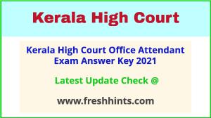 Kerala HC OA Answer Sheet 2021
